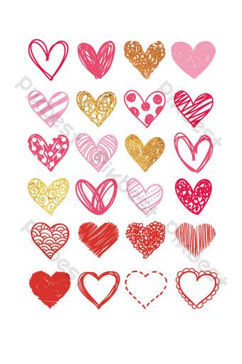 Vector de colección de patrones en forma de corazón Modelo AI