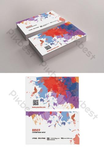 تصميم بطاقة العمل الفنية المائية دفقة الحبر قالب AI
