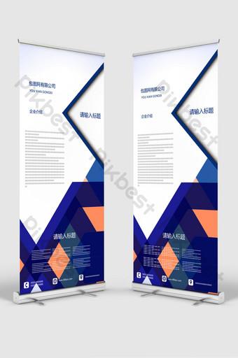 perfil corporativo simple del bloque de color azul enrollar x enrollar la plantilla de diseño de standee Modelo AI