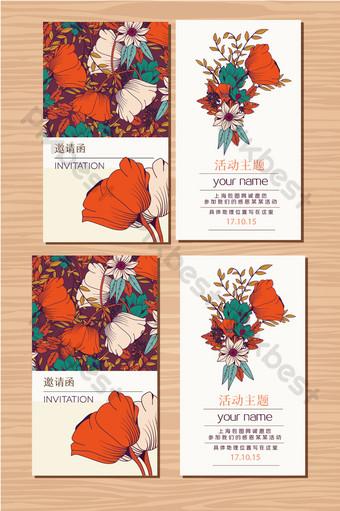 Invitation de fond de fleurs carte floral dessiné à la main Modèle AI