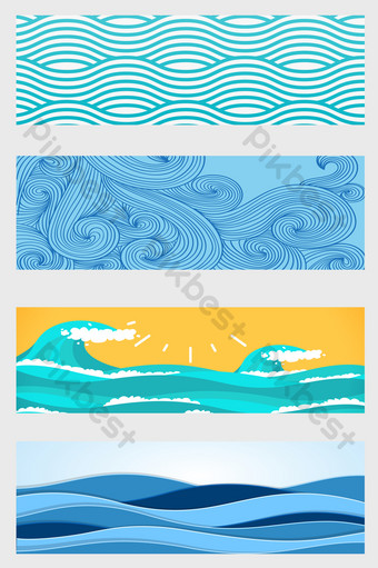 different style waves sea vector background shading curve ripple Backgrounds Template AI