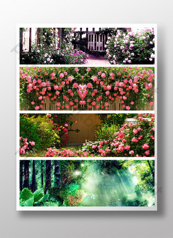 Flower sea background design template Taobao women's clothing promotion poster PSD Backgrounds Template PSD
