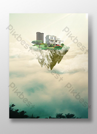 sea of clouds real estate poster background Backgrounds Template PSD