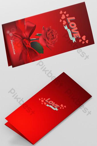 تصميم بطاقة معايدة عيد الحب الأحمر قالب PSD