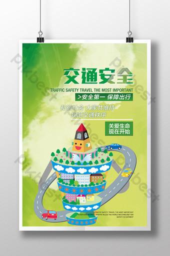 plantilla de cartel de venta de seguridad de tráfico fresco y natural Modelo PSD