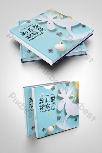 روضة أطفال الكرتون الأزرق الفاتح كتيب تذكاري قالب تصميم التخرج للأطفال قالب PSD
