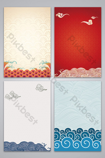 vector chinese style retro auspicious clouds sea water texture background Backgrounds Template AI