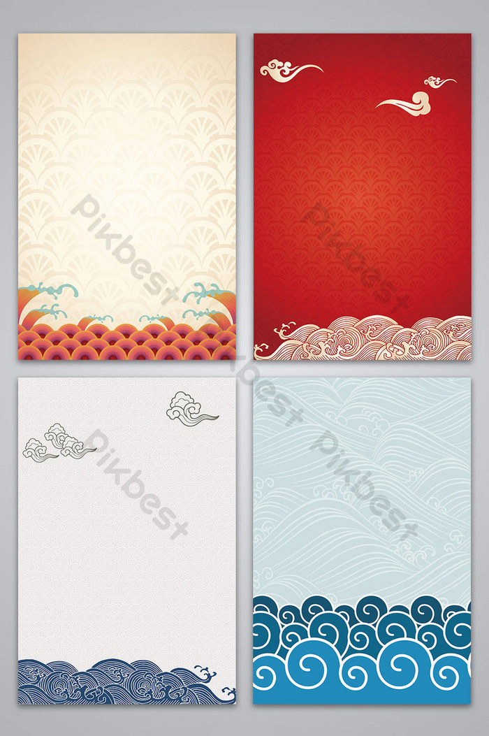 vector chinese style vintage clouds sea water texture background