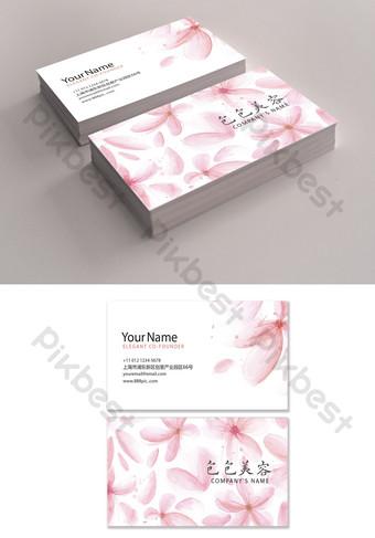 Modèle de Carte de visite de salon de beauté pétales roses Modèle AI
