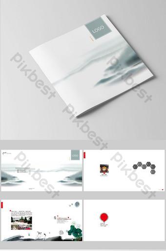 الحبر واللون الفاتح تصميم كتيب السفر النمط الصيني قالب PSD