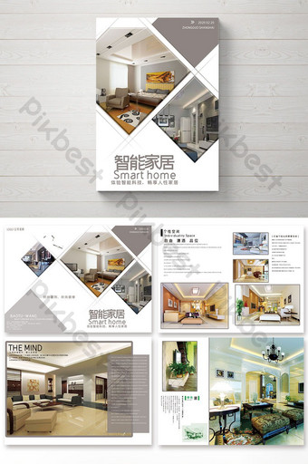 complete set of style smart home brochure Template PSD
