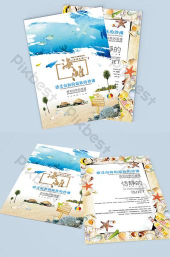 Flyer de voyage créatif sur la plage Modèle CDR