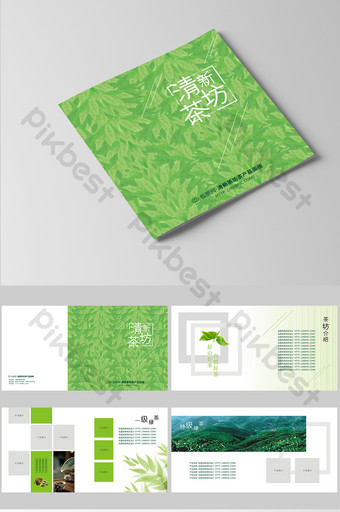 green set of fresh and high end tea product brochure Template CDR