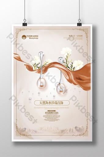 diseño romántico simple del cartel de la joyería de la perla de la moda del agua de mar Modelo PSD
