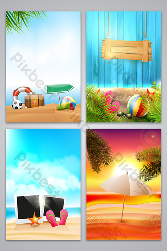 Seaside tourism promotion poster background Backgrounds Template AI