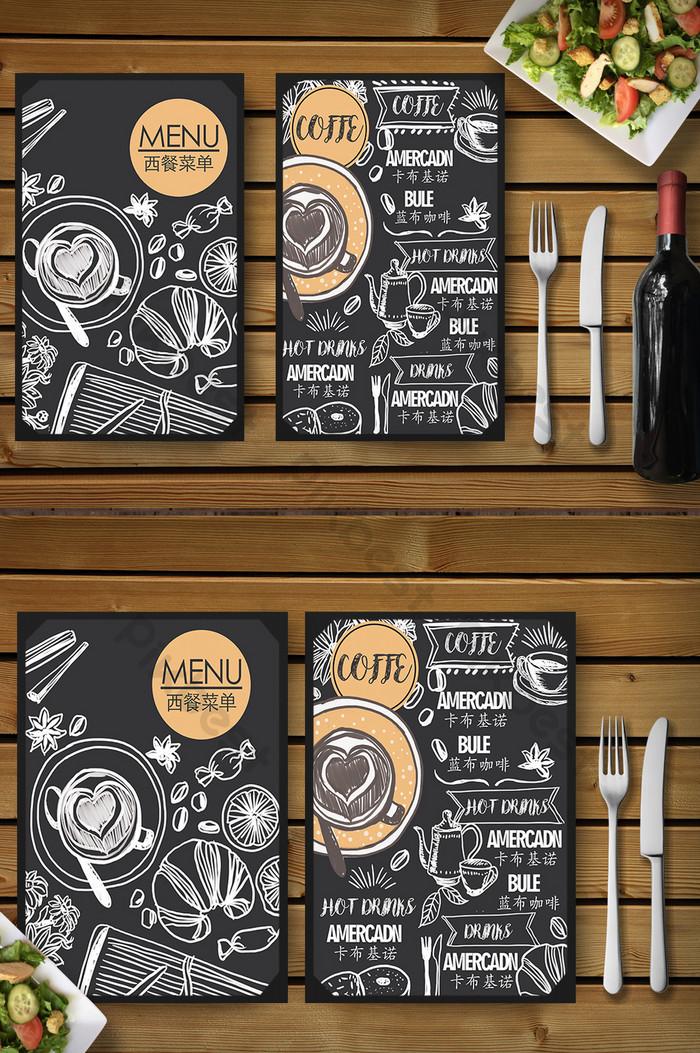 Креативная handdrawn petty chalkboard Пить кофе Западное меню