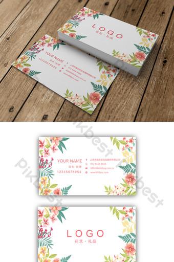 Conception de carte de visite de magasin de fleurs de fleurs fraîches dessinés à la main Modèle AI