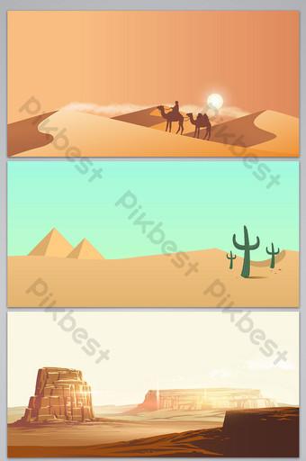 nền phong cảnh ốc đảo sa mạc phẳng vector Nền Bản mẫu AI