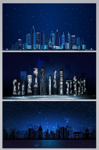 fondo de silueta de edificio de cielo estrellado de noche azul Fondos Modelo AI