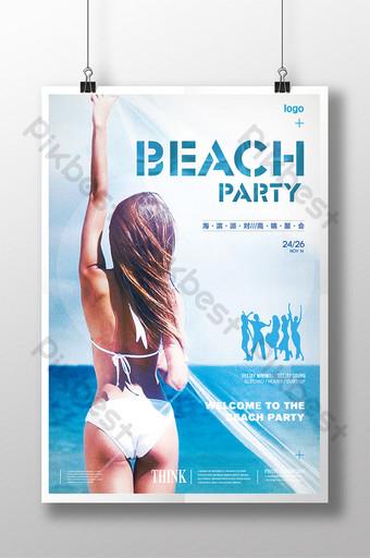 cartel de playa junto al mar belleza vista posterior fiesta junto al mar Modelo PSD