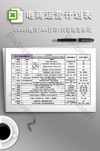 bentuk rencana operasi e commerce bulanan tahunan Template Excel Templat XLS