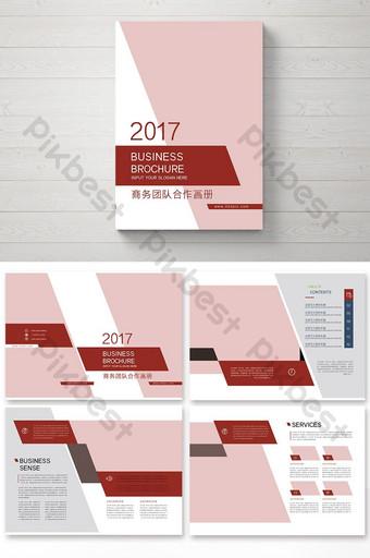 Un ensemble de brochure de coopération d'équipe commerciale rouge Modèle PSD