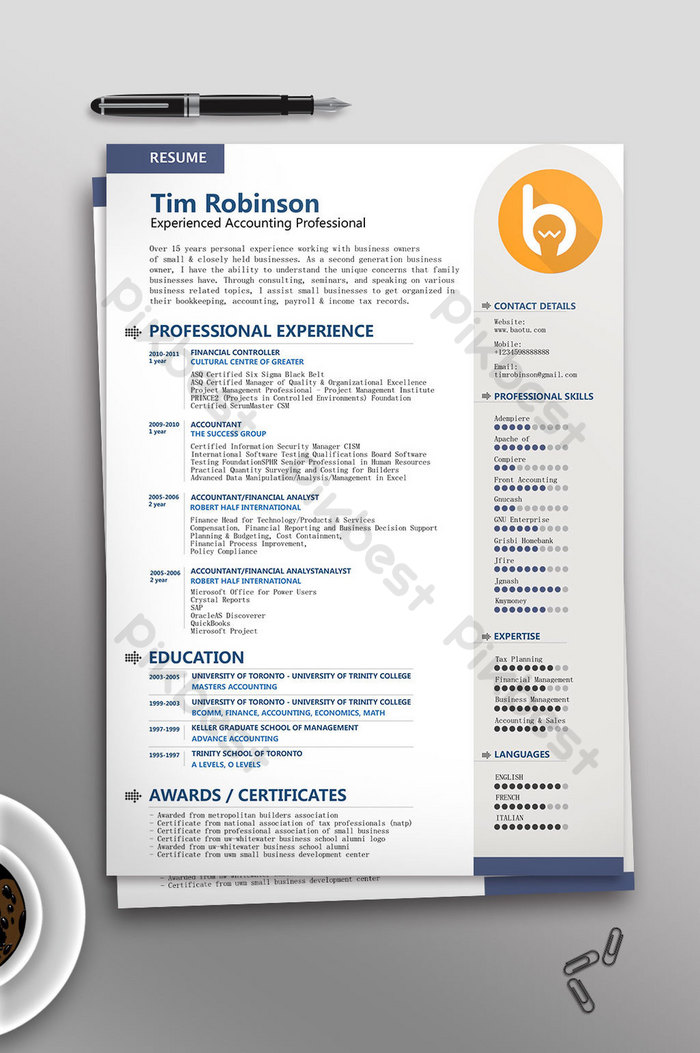 Business Accountant English Resume Template Word Template