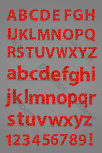 紅玫瑰英文字母數字矢量圖 元素 模板 AI