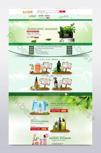 Green tea moisturizing skin care facial set E-commerce Template PSD