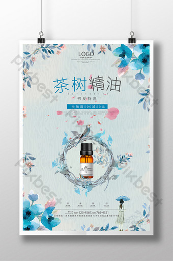 Fresh and simple essential oil promotion poster template design Template PSD
