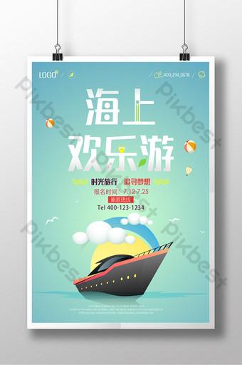 cruise ship sea upstream illustration poster Template PSD