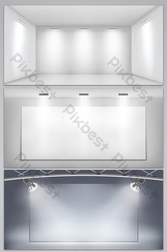 矢量簡約空間三維展台舞台背景 背景 模板 AI