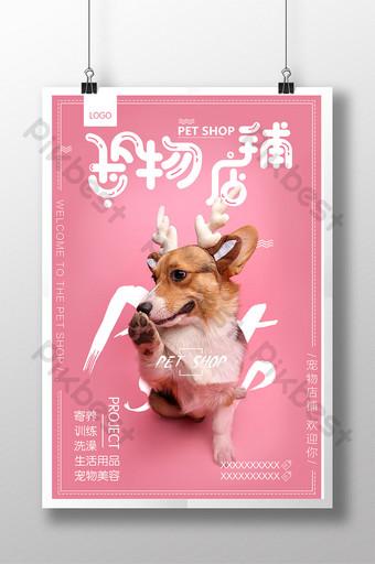 Conception d'affiche de promotion d'animalerie créative Modèle PSD