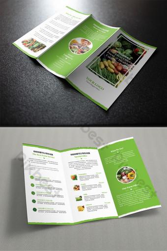 Dépliant créatif simple d'aliments verts biologiques sains Modèle PSD