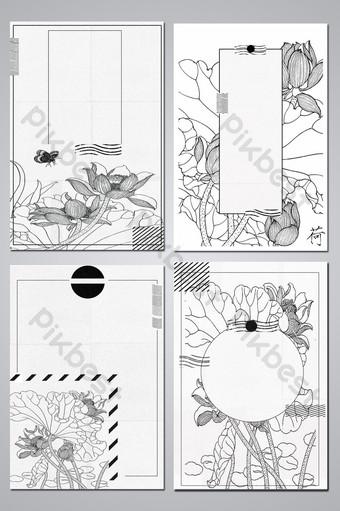 Dessin au trait de style chinois gongbi carte de fond noir et blanc Fond Modèle PSD