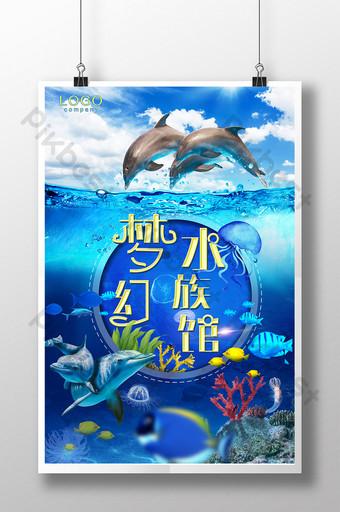 Summer parent-child tour dream aquarium ocean world undersea poster design Template PSD