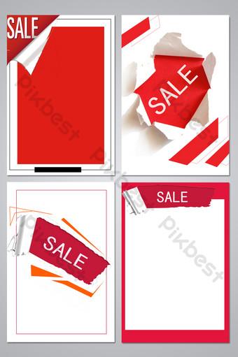 mapa de fondo del volante de mercancías de papel rasgado rojo y blanco Fondos Modelo PSD