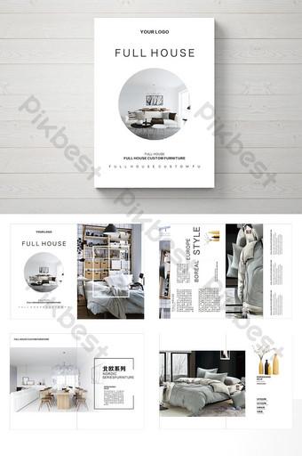 простой стиль полный набор скандинавской мебели брошюра шаблон CDR