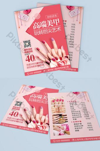 Tờ rơi nghệ thuật nail cao cấp màu hồng thời trang Bản mẫu CDR
