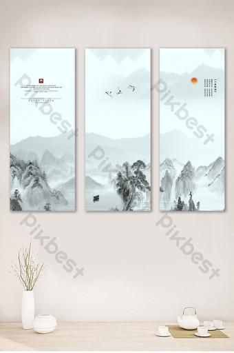 鳥鳴山更幽靜的中式客廳書房裝飾畫無框設計 裝飾·模型 模板 PSD