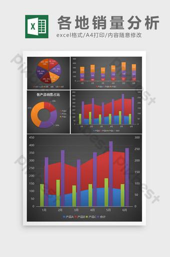 Rapport d'analyse statistique semi-annuel de l'état des ventes de chaque produit Excel模板 Modèle XLSX
