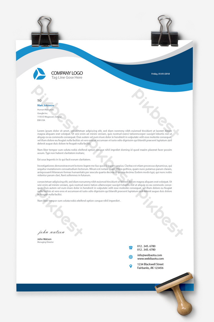 Business Blue Ai Word Document Background A4 Stationery