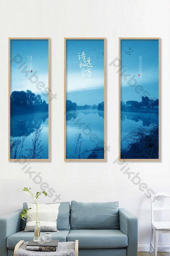 高端詩情畫作和無框畫在遠處的客廳書房裝飾畫 裝飾·模型 模板 PSD