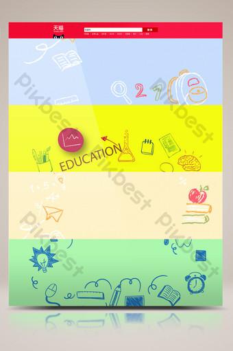 cartel de promoción escolar de dibujos animados dibujados a mano e Fondos Modelo AI