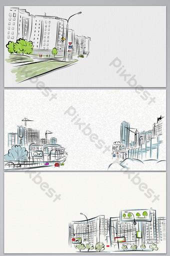 vector dibujado a mano bosquejo ciudad cartel imagen de fondo Fondos Modelo AI