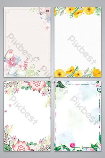 花卉邊框裝飾清新圖案背景文藝復古 背景 模板 PSD
