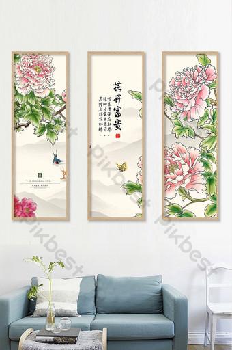 Floración rica y honorable peonía roja estilo chino sala de estar estudio pintura decorativa sin marco Decoración y modelo Modelo PSD