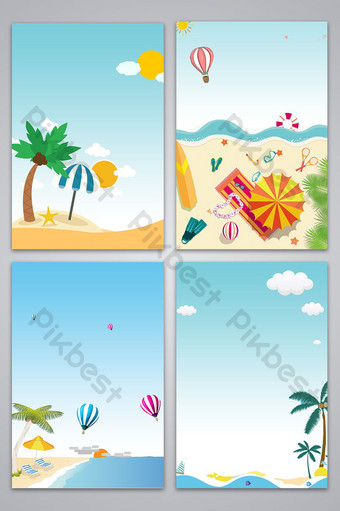 vector plano dibujado a mano fondo de playa junto al mar Fondos Modelo PSD