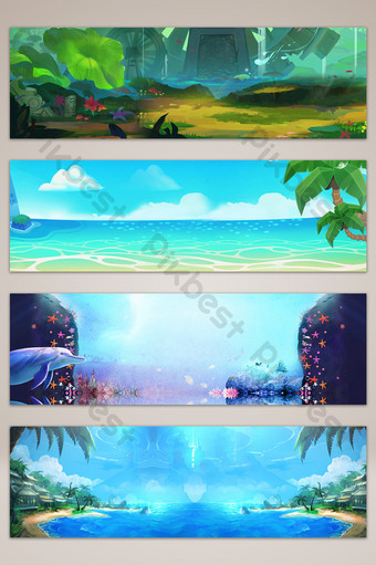 drawing cartoon scene sea poster banner background Backgrounds Template PSD