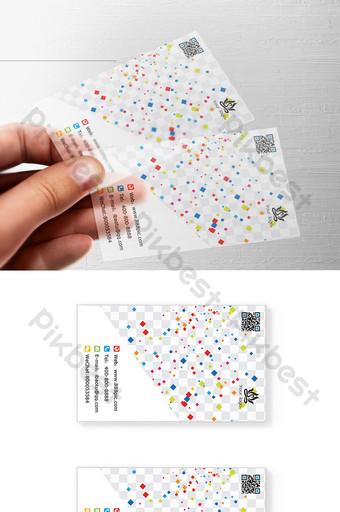 Modèle de carte de visite transparente plat carré vecteur couleur PSD en couches Modèle PSD